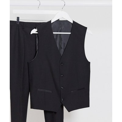 Selected Homme – Schmal geschnittene Smokingweste aus Wolle in Schwarz