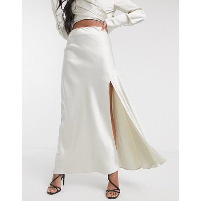 Significant Other lucine satin maxi skirt with slit-White