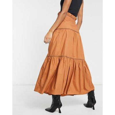 Skylar Rose tiered maxi skirt-Brown