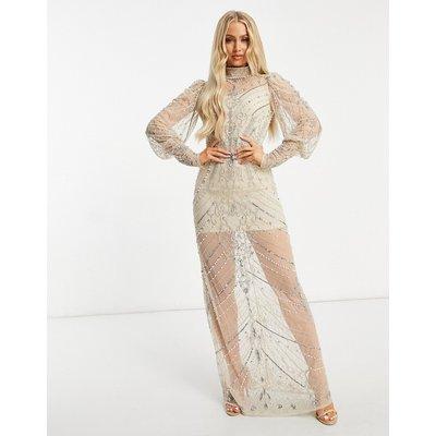 Starlet long sleeve sheer embellished midaxi dress in champagne-Gold