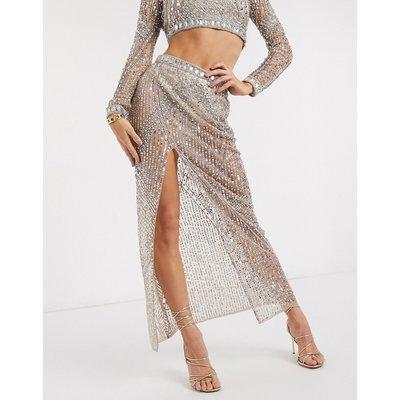 Starlet sheer embellished maxi skirt co-ord in gold