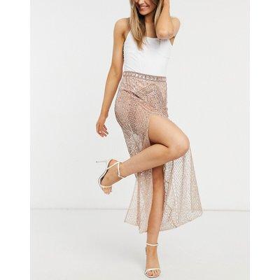 Starlet sheer embellished maxi skirt co-ord in rose gold-Pink