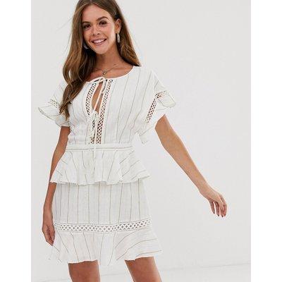 Stevie May Elm gold foil stripe peplum dress-White