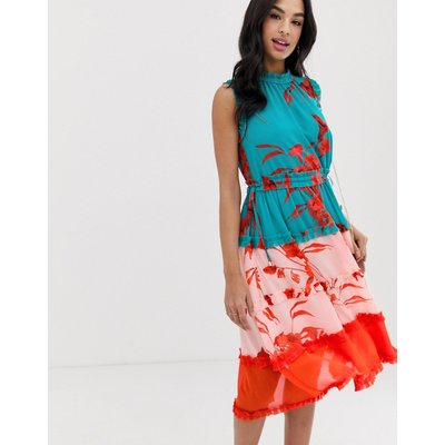 Ted Baker Camelis printed colourblock midi dress-Multi