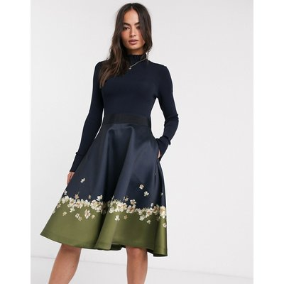 Ted Baker Lotis pearl printed full skirted midi dress-Blue