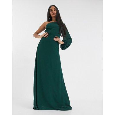 TFNC one shoulder chiffon maxi dress-Green
