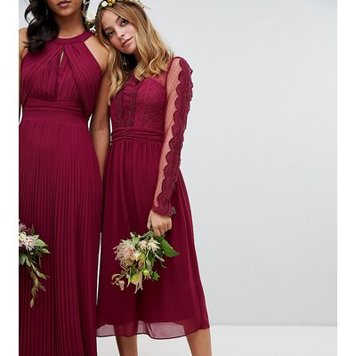 TFNC Petite lace detail bridesmaid midi dress in burgundy-Red