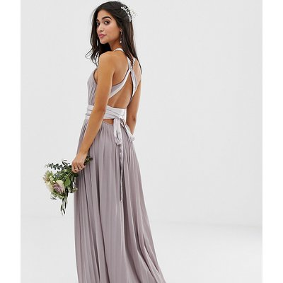 TFNC Petite pleated maxi bridesmaid dress with cross back and bow detail in grey