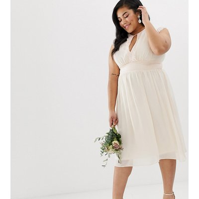 TFNC Plus Lace Detail Midi Bridesmaid Dress-Pink