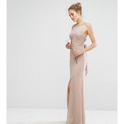 TFNC WEDDING Chiffon Maxi Dress with Tonal Embellishment and Tie Detail-Brown