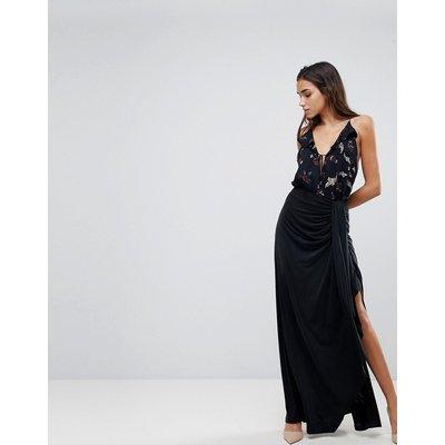 The Jetset Diaries Serenity Thigh Slit Maxi Skirt-Black