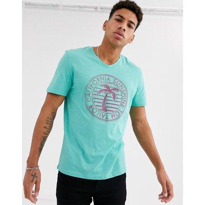 Tom Tailor – T-Shirt mit tropischem Print-Blau