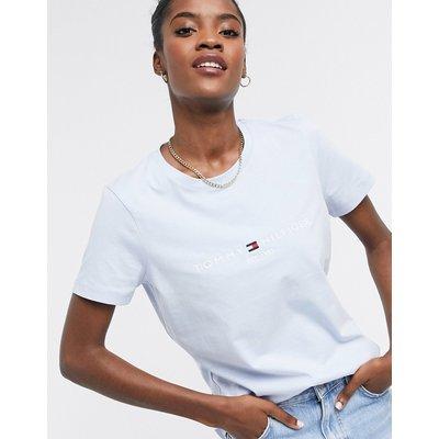Tommy Hilfiger – Blaues T-Shirt mit Logo vorne