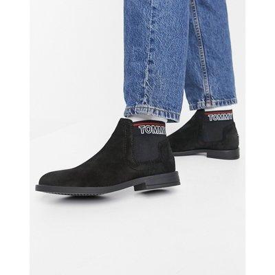 Tommy Hilfiger – Chelsea-Stiefel aus schwarzem Wildleder