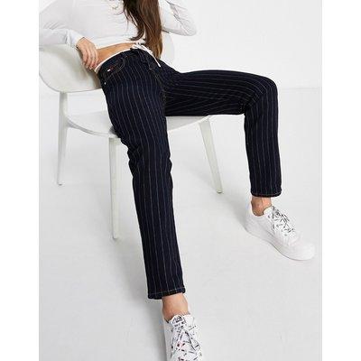 Tommy Hilfiger – Collections – Schwarze Mom-Jeans mit Nadelstreifen