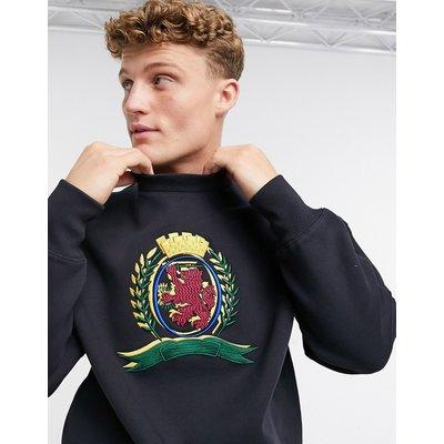 Tommy Hilfiger – Collections – Sweatshirt mit Rundhalsausschnitt und 3D-Wappendetail-Navy | TOMMY HILFIGER SALE