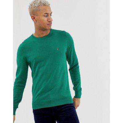 Tommy Hilfiger – Klassischer Pullover aus Baumwolle mit Rundhalsausschnitt-Grün