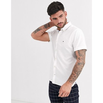 Tommy Hilfiger – Schlank geschnittenes, kurzärmliges Hemd-Weiß