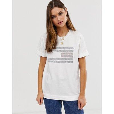 Tommy Hilfiger – Tyara – T-Shirt mit Flaggen-Logo-Weiß