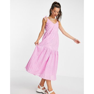 Topshop broderie maxi dress in lilac-Purple