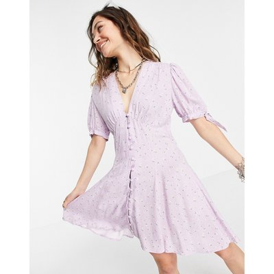 Topshop Primary floral button through tea dress in lilac-Purple
