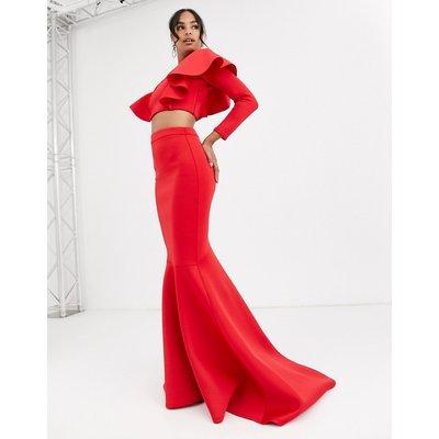 True Violet Black Label fishtail maxi skirt in red