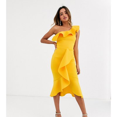 True Violet exclusive one shoulder frill bodycon dress in ochre-Yellow