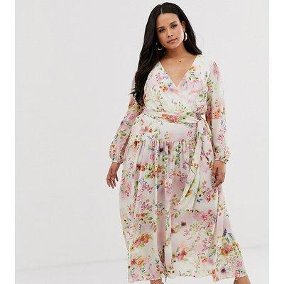 True Violet Plus chiffon maxi dress in tie dye floral print-Multi