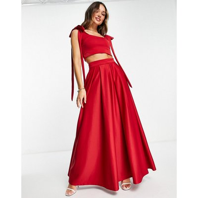 True Violet statement maxi skirt co-ord with pockets in regal red-White