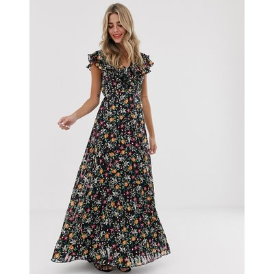 Twisted Wunder chiffon maxi dress with ruffle detail in ditsy floral-Multi