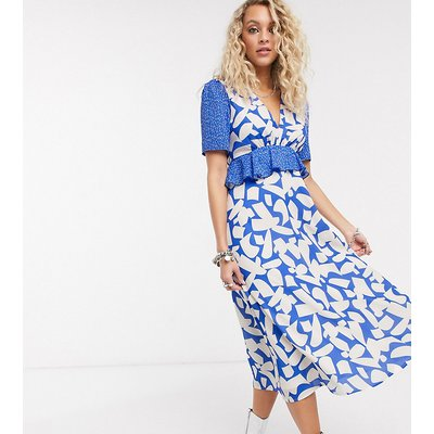 Twisted Wunder printed midaxi dress in abstract floral-Blue