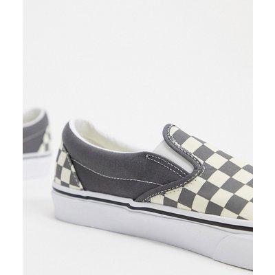 Vans – UA Classic – Sneaker zum Hineinschlüpfen mit Schachbrettmuster in Zinn/Echtweiß-Grau