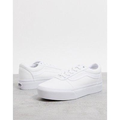 Vans – Ward – Weiße Sneaker aus Stoff mit Plateausohle