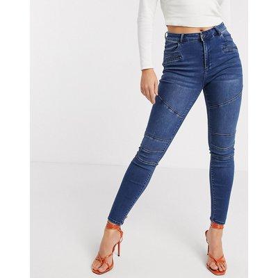 Vero Moda – Blaue Skinny-Jeans im Biker-Stil mit Bahnendesign