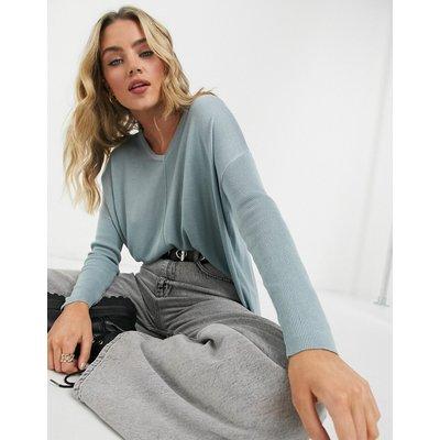 Vero Moda – Blauer Oversize-Pullover mit V-Ausschnitt