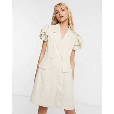 Vero Moda – Blazerkleid mit Rüschen an den Schultern in Creme-Weiß   VERO MODA SALE