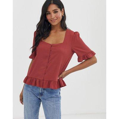 Vero Moda – Bluse mit Knopfleiste und geradem Ausschnitt-Rosa