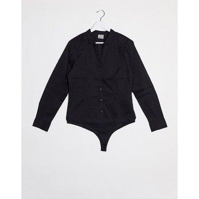 Vero Moda – Bodysuit im Hemdstil-Schwarz