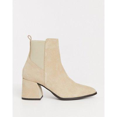 Vero Moda – Braune Chelsea-Stiefel aus Leder mit Absatz