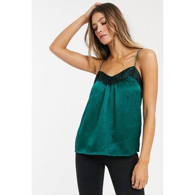 Vero Moda – Camisole mit Spitzenbesatz-Grün