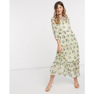 Vero Moda chiffon maxi dress with tie neck in cream floral-Multi