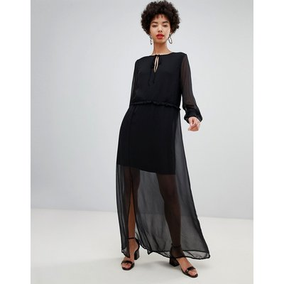 Vero Moda chiffon sheer maxi dress with cuff detail in black