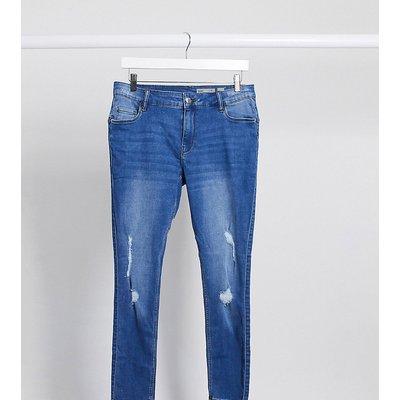 Vero Moda Curve – Enge Jeans mit Zierrissen am Knie in Blau