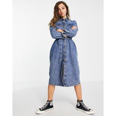 Vero Moda – Denim-Hemdkleid in Blau mit Gürtel | VERO MODA SALE