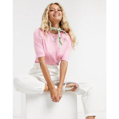 Vero Moda – Eng geschnittenes Strick-T-Shirt in Rosa
