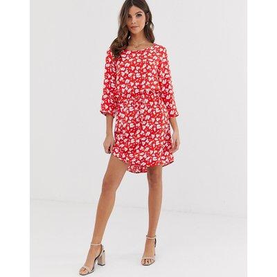 Vero Moda – Geblümtes Kleid mit3/4-Ärmeln-Mehrfarbig
