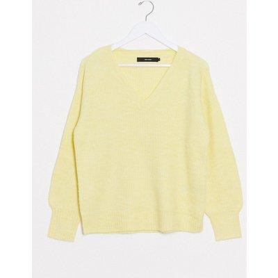 Vero Moda – Gelber Pullover mit V-Ausschnitt-Rot