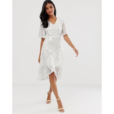 Vero Moda – Gerüschtes Wickelkleid-Weiß