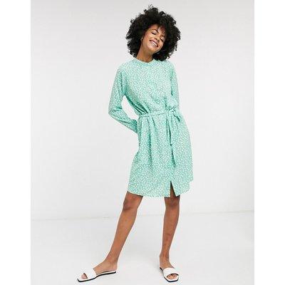 Vero Moda – Grünes Jerseykleid mit Bindegürtel