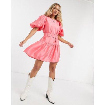 Vero Moda – Hängerkleid mit Gürtel und Puffärmeln in Rosa